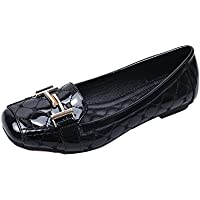 Womens hebilla Mocasines. Casual zapatos de pisos Square Toe bajo por meeshine