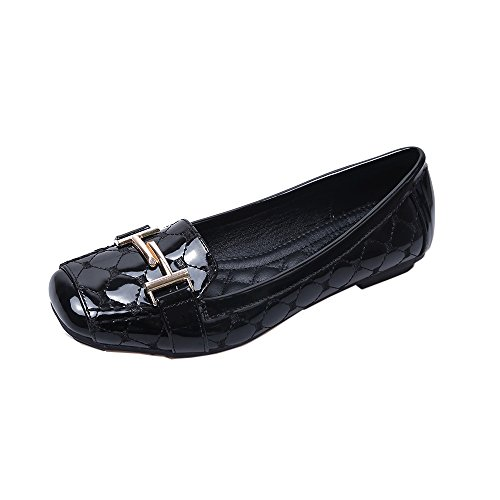 Meeshine Womens Buckle Slip On Loafer Casual Low Flats Square Toe Shoes Black-02
