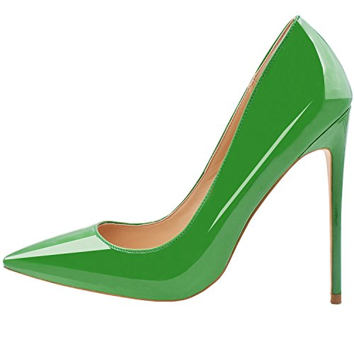 High Color Stiletto Womens Lovirs Solid Toe Green Patent Heel Wedding Stiletto Shoes Party Pumps Pointed qRntnp1