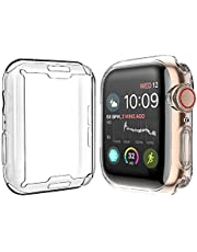 [2-Pack] Julk Case for Apple Watch Series 6 / SE/Series 5 / Series 4 Screen Protector 40mm, Overall Protective Case TPU HD Clear Ultra-Thin Cover (2 Transparent)