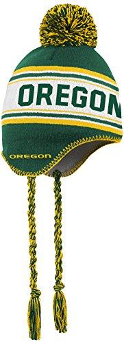 NCAA by Outerstuff NCAA Oregon Ducks Kids Jacquard Tassel Knit Hat w/ Pom, Dark Green, Kids One Size