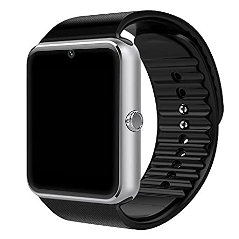 GT08 Bluetooth Smart Watch for Android Phones, Smart Watch with SIM Card Slot,Call,Massage, Camera Electronics for Health,Sweatproof (Silver)