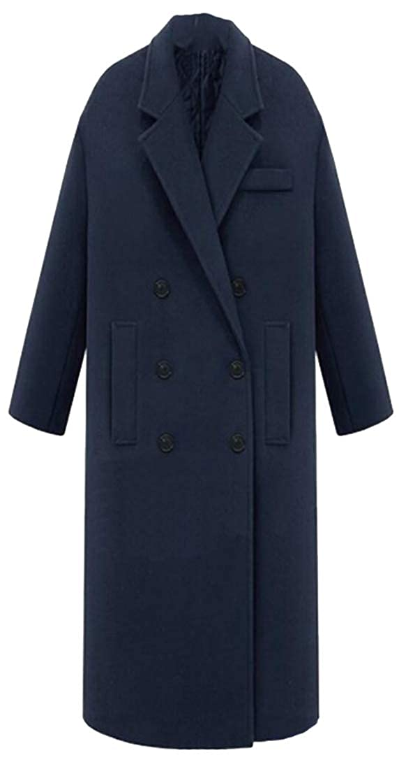 bluee ouxiuli Women's Fashion Wool Trench Coat Winter DoubleBreasted Jacket