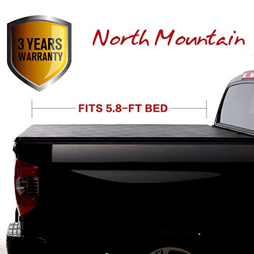 North Mountain Soft Vinyl Roll-up Tonneau Cover, Fit 14-18 Chevy Silverado/GMC Sierra 1500 Pickup 5.8ft Fleetside Bed, Clamp On No Drill Top Mount Assembly w/Rails+Mounting Hardware
