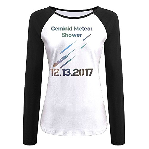 (Meteor Shower Dec 13 2017 Casual Baseball Boat Neckline Fashion Long Sleeve Womens Raglan)
