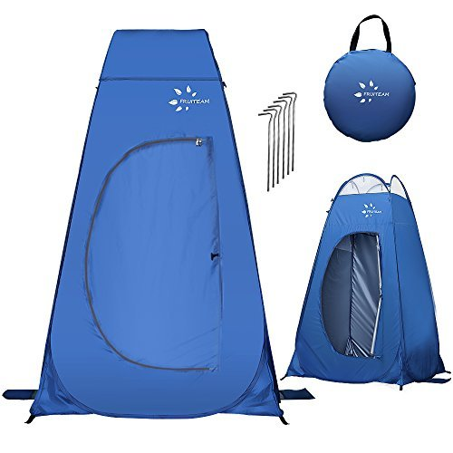 - FRUITEAM Pop Up Privacy Tent for Portable Toilet Shower Silver Coated Dressing Changing Room Tent UV Protection Privacy Shelter Camping Cabana, Blue