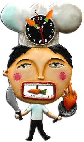 Kitchen Cook Chef Suey Pendulum Battery Wall Clock