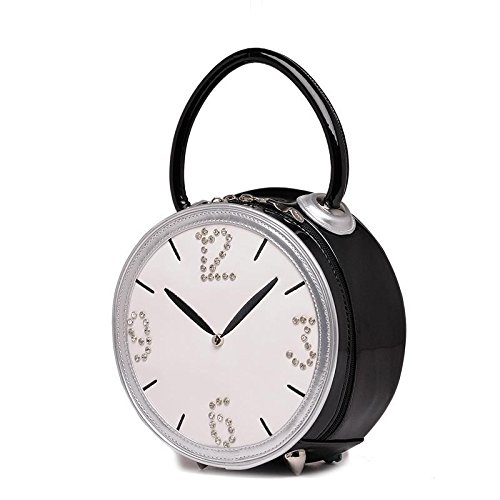 Ladies Lovely Alarm Clock Shape Single Shouder Bag Leather Zipper Shouder Bag Outdoor Shoulder Bag Message Bag for Best Gifts,black (Alarm Clock Purse)