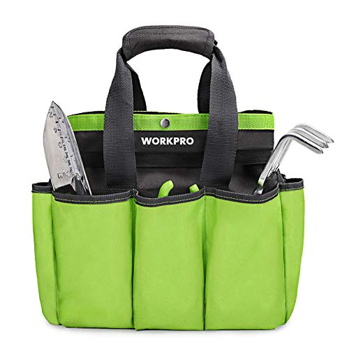 "WORKPRO Garden Tool Bag, Garden Tote Storage Bag with 8 Pockets, Home Organizer for Indoor and Outdoor Gardening, Garden Tool Kit Holder (Tools NOT Included), 12"" x 12"" x 6"""