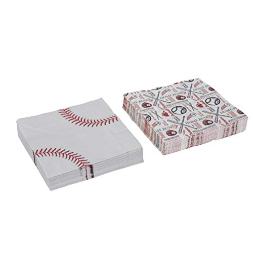 Baseball Theme Napkins Tableware -Birthday Party Supplies Perfect for Game Day, Tailgating, Sports Events, Family Dinner and Birthday Parties (80 -