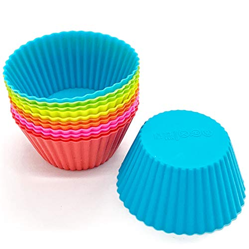 iiHOME Reusable Silicone Baking Cups Cupcake Liners Muffin Cups Cake Molds, Pack of 12 (Random Color)