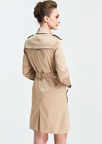 Mia Camii Trench Coat Gabardina Mujer Khaki para Clásico 8SxdASq7w