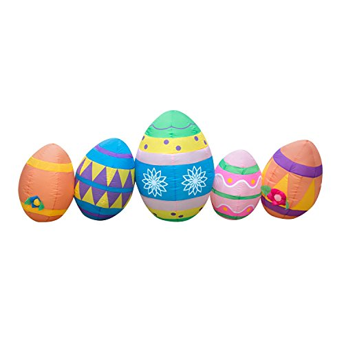 Holidayana 8 Foot Long Inflatable Easter Egg Airblown Lawn Decoration Featuring Lighted Interior with Fan and Anchor Ropes