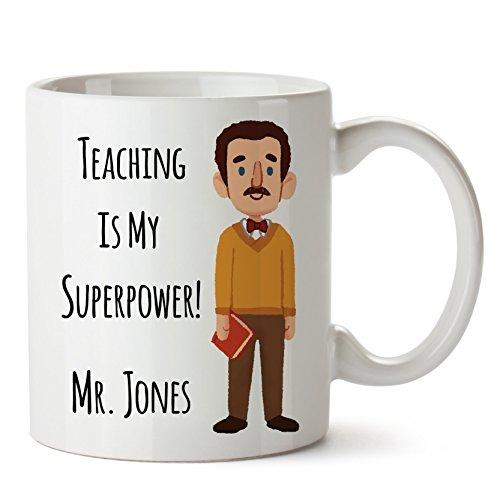 Personalized Teacher Mugs - Personalized Teacher Coffee Mug, Create a Custom, Cute and Funny Look-a-Like Gift for Male Teacher (Male)