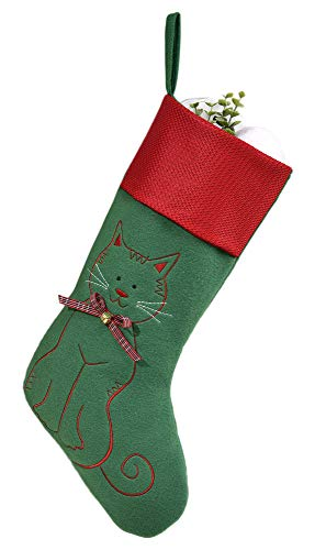 Gift Craft Cat Embroidered Green Red Cuff 20 Inch Felt Fleece Christmas Stocking ()