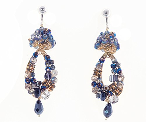 Vintage Style Royal Blue, Gold, Clear & Iridescent Bead Goldtone Dangle Clip On Earrings 2.5 in