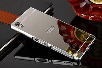 FASHION CASES Sony Xperia Z5 Funda Espejo, Estuyoya Carcasa Trasera [Marco de Aluminio] Bumper Xperia Z5 Lámina Trasera PC Efecto Espejo [Ultra ...