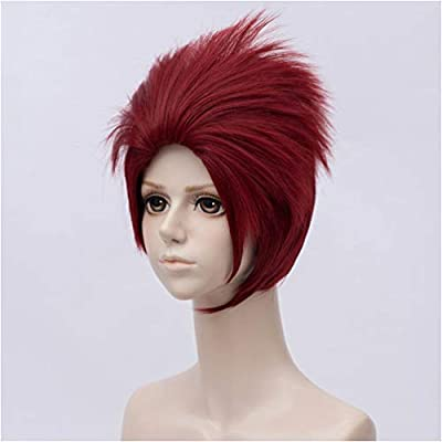Flovex Short Fluffy Deep Red Hair With Bangs Mens Spiky
