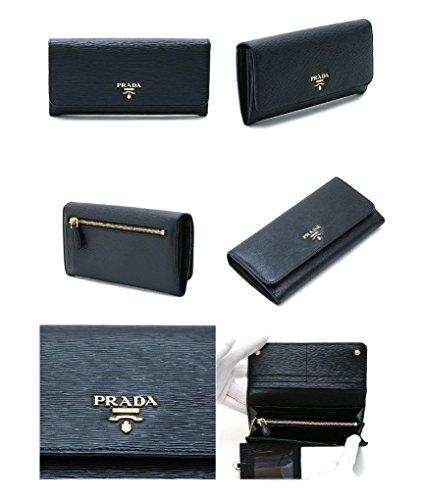 Prada Womens 1MH132 2EZZ Vitello Move BI Leather Wallet Nero (Black)