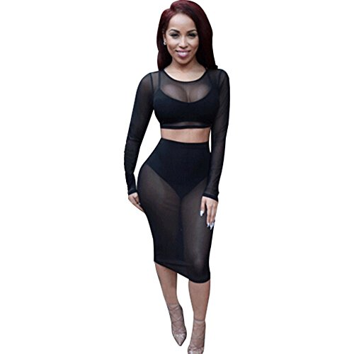 Yaheeda Women's Long Sleeve Round Neck Lace Hollow Black ...