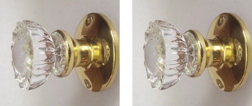 Two Crystal Antique Replica Surface Mount Single Dummy/French Door Knob Sets for one side of two doors or Both Sides of one door. Also for decor projects (Polished ()