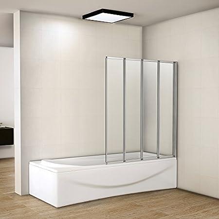 Perfect 1000x1400mm 4 Fold Folding Shower Screen Bath Screen Panel Glass