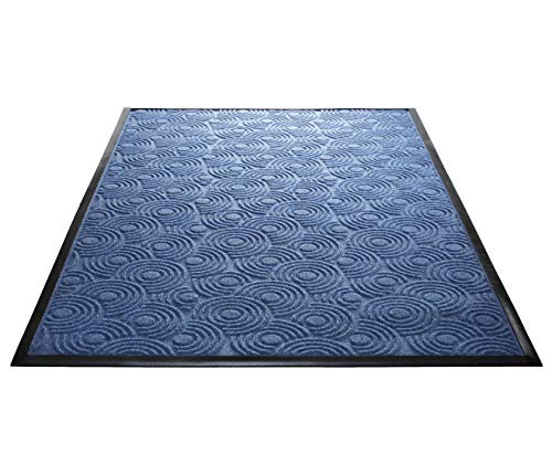 (Guardian WGS020302 2' x 3' Indoor/Outdoor Wiper Scraper Floor Mat, Water Guard Spiral Pattern, Rubber Reinforced Ridges Withstand High Traffic, Blue)