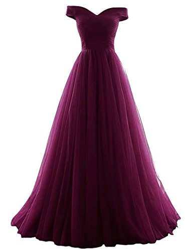 Vickyben Women's A-Line Tulle Prom Formal Evening Homecoming Dress Ball Gown (20w, Grape)