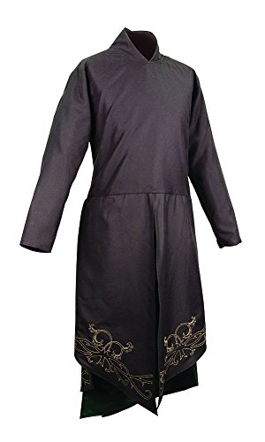 Museum Replicas Elven Embroidered Tunic Fantasy Elf Costume (Large/XLarge) Black]()