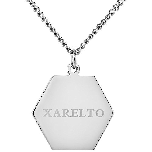 Stainless Steel Xarelto Medical Alert Id Tag Necklace Hexagon 1 Wide  30 Inch