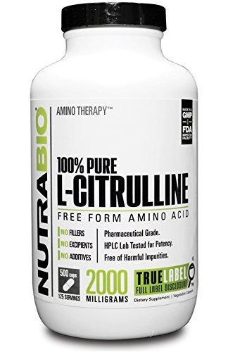NutraBio 100% puro L-citrulina (500 mg) - 500 cápsulas vegetales