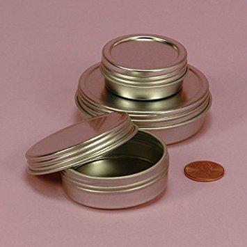 Screw Top Round Steel Tins, 4oz (24 Per Pack) (Glass Top Tins)