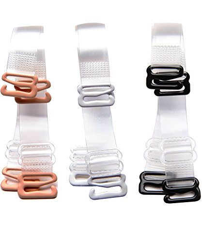 Length Shoulder Strap (WingsLove 3 Pairs Clear Crystal Soft Invisible Replacement Bra Shoulder Straps(3Pairs--12mm Width, Transparent))