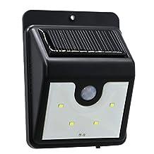 KIND GREENS 4 LED Solar Lights with PIR Outdoor Motion Sensor Wall Night Light Street Yard Deck Porch Cool White Garden Security Lamp Lighting, Patio Lights
