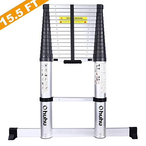 Ohuhu 15.5 FT Telescoping Ladder with Stabilizer Bar, EN131 Certified Aluminum Telescopic Extension Ladder, 330 Pound Capacity