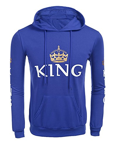 Cool Hooded Long Sleeve (Jingjing1 Matching Couple Hoodies Cool Long Sleeve Hooded Sweatshirt For Men and Women (S,Blue/King))