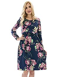Bearsland Women's Maternity Long Sleeve Nursing Breastfeeding Dresses Pockets