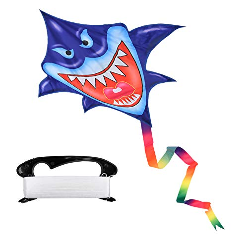 Milky House Shark Kite,Beach Kites for Kids or Adult,Outdoor/Trip Fun Sports Cartoon Kite Easy to Fly