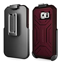 Samsung Galaxy S6 Belt Case & Clip (Wine Red), Encased® [Hero Series] Shockproof Tough Case & Belt Holster (Spring release for easy, one-handed removal) *New 2015 Release*