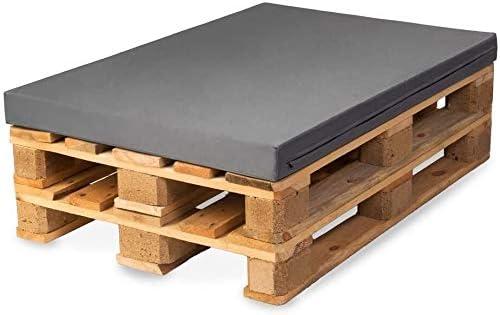 TexDeko Palettenkissen für Palettensofa M-XL Polsterhöhe Komfort Plus, Palettenpolster Wasserabweisend Matratzenkissen Schaumstoff für Europalette (Polsterhöhe: 10CM - L, Grau)