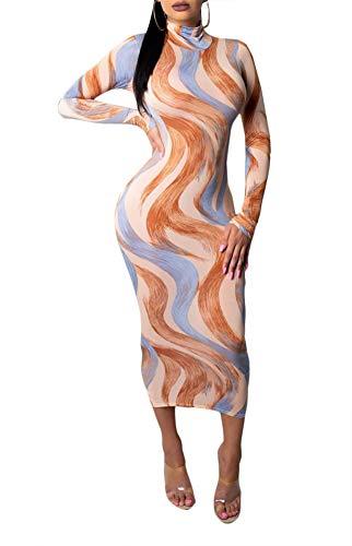 (Ophestin Women Sexy Long Sleeve Turtleneck Floral Stripe Print Bodycon Slim Sheath Long Midi Pencil Dress Apricot L)