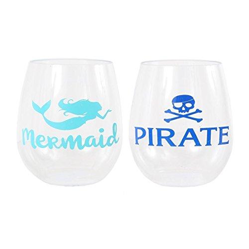 DEI Pirate/Mermaid Stemless Wine Glass Set,Clear