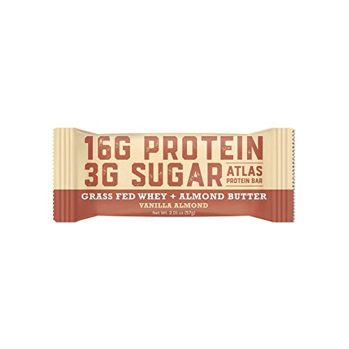 Atlas Bar - Keto/Low Carb Friendly Protein Bar, Vanilla Almond, 2.01 Ounce (10-Pack) — Grass Fed Whey, Low Sugar, All Natural, Gluten Free, Soy Free, GMO Free, and Sugar Alcohol ()