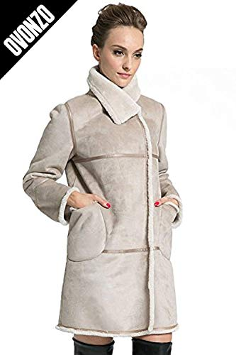 Ovonzo Women's Winter Style Soft Faux Suede Leather Pea Coat Hip Length Beige Size XL