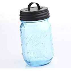 Vintage Blue 100th Anniversary Ball Pint Mason Jar with Black Handled Lid