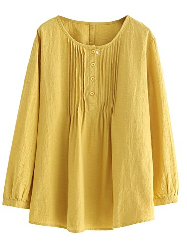- Minibee Women's Scoop Neck Pleated Blouse Solid Color Lovely Button Tunic Shirt Yellow L