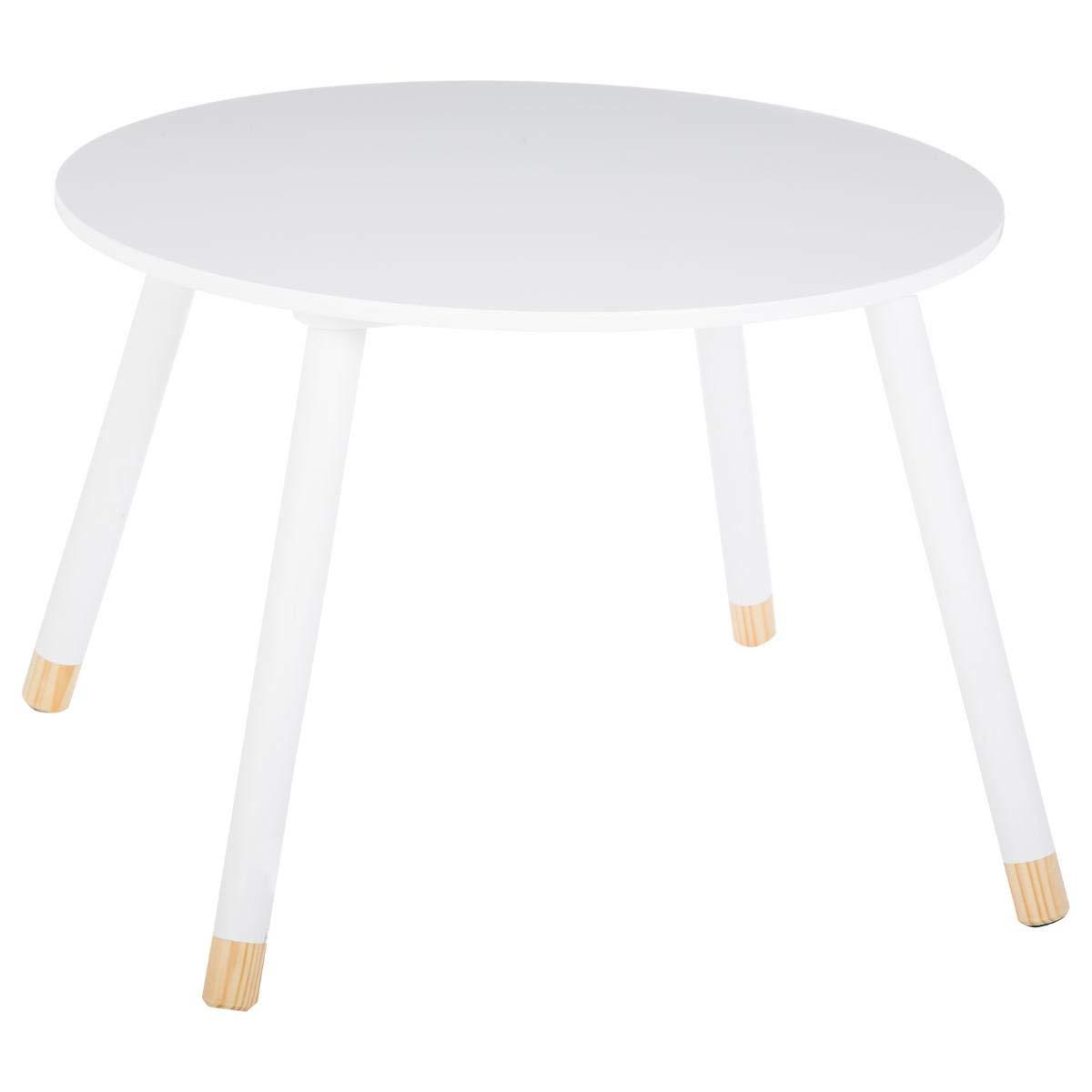 Atmosphera Wooden round table children - Colour WHITE