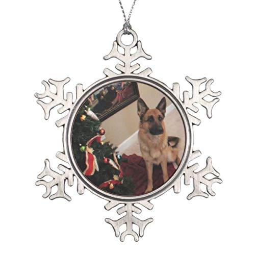 - TiuKiu German Shepherd Pewter Snowflake Flat Ornament Christmas/Holiday/Love/Anniversary/Newlyweds/Keepsake - 3