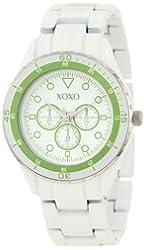 XOXO Women's XO5488 White Analog Bracelet with Green Bezel Watch