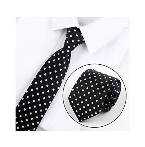 Men Black White Polka Dot Silk Casual Dress Ties Textured Regular Length Necktie]()